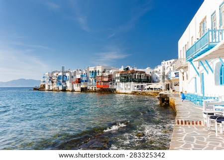 Panorama of Little Venice popular tourist area at village on Mykonos island, Greece, Europe - stock photo