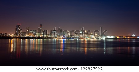 Panorama of Liverpool by night - stock photo
