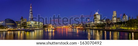 Panorama Of London By Night - stock photo