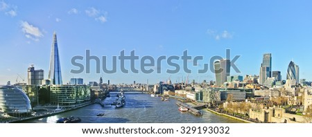 Panorama of London skyline in a sunny day. - stock photo