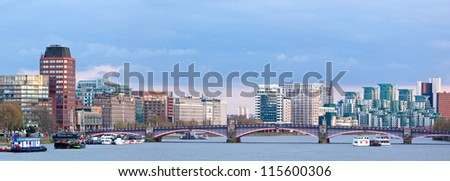 Panorama of London Skylines Skyscrapers along River thames England UK - stock photo