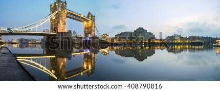 Panorama of London Tower Bridge and river Thames before the sunrise in London, England - stock photo