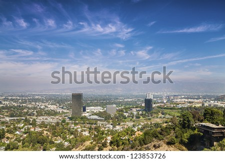 Panorama of Los Angeles taken from Beverly Hills - stock photo
