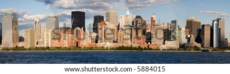 Panorama of Lower Manhattan and the Hudson River - stock photo