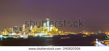 Panorama of Lower Manhattan at night.