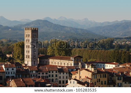 Panorama of Lucca with Cathedral