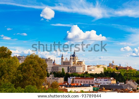 Panorama of Madrid (Spain) with the Royal Palace and the Almudena Cathedral - stock photo