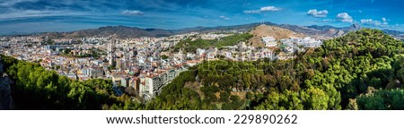 Panorama of Malaga city, view from the Gibralfaro fortress. Andalusia, Spain - stock photo
