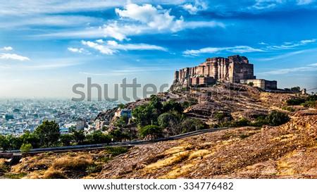 Panorama of Mehrangarh Fort, Jodhpur, Rajasthan, India - stock photo