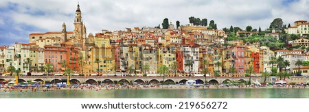 panorama of Menton.beautiful town in border of France and Italy - stock photo