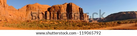 Panorama of mesas and buttes at Monument Valley, Arizona