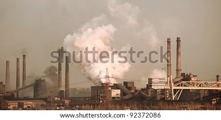 Panorama of metallurgical works. Industrial landscape