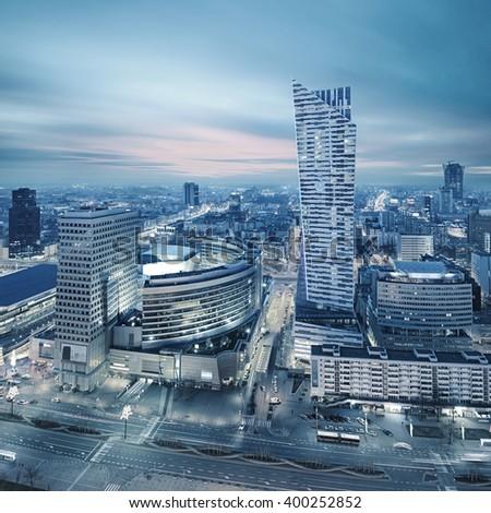 Panorama of modern Warsaw by night - stock photo