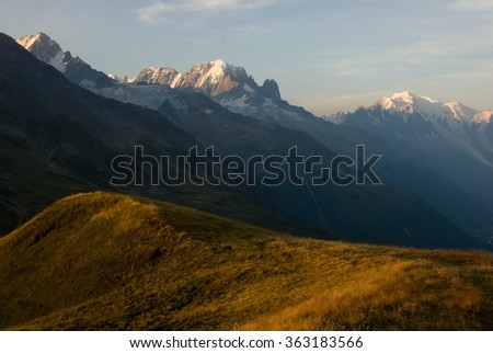 Panorama of Mont Blanc in Alps France - stock photo