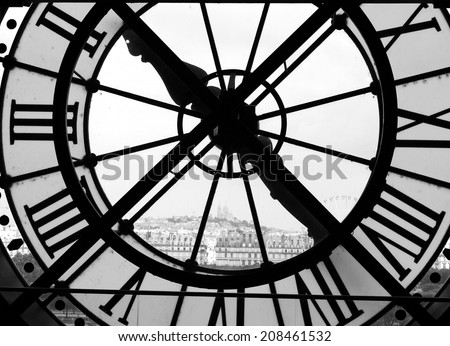 Panorama of Montmarte truth the clock of the D'Orsay, Paris (bw) - stock photo