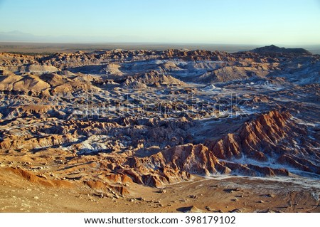 Panorama of Moon Valley (Valle de la Luna), Chile