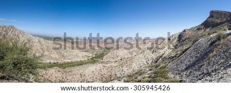 Panorama of Moon Valley (Valle de la Luna), Ischigualasto National Park, San Juan, UNESCO work heritage site., Argentina - stock photo