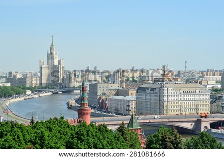 Panorama of Moscow, a view for the high-rise on Kotelnicheskaya embankment of Moscow river - stock photo