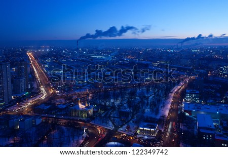 panorama of Moscow from the height of bird flight. winter evening - stock photo