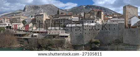 Panorama of Mostar Old Town on a sunny winter day.