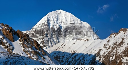 Panorama of Mount Kailash or Gang Rinpoche (elevation 6638 m), which are part of the Transhimalaya in Tibet. It is considered a sacred place in four religions: Bon, Buddhism, Hinduism and Jainism - stock photo