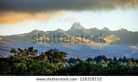 Panorama of Mount Kenya, second highest mountain in Africa - stock photo