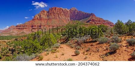 Panorama of Mount Kinesava rising from Chinle plateau near Zion National Park, Utah - stock photo