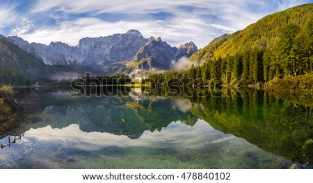 panorama of mountain lake in the Italian Alps