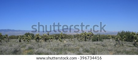 Panorama of mountains and desert, California - stock photo