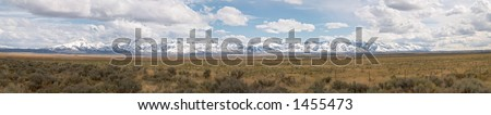 Panorama of mountains and desert in Nevada, United States - stock photo