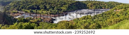 Panorama of Murchison Falls on the Victoria Nile, Uganda - stock photo