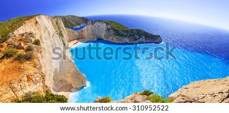 Panorama of Navagio Beach (Shipwreck beach) on Zakynthos Island, Greece - stock photo