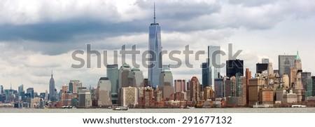 Panorama of New York City at Lower Manhattan - stock photo