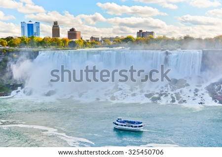 Panorama of Niagara Falls in autumn - stock photo
