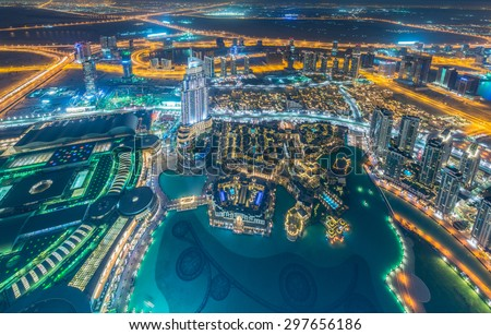Panorama of night Dubai during sunset - stock photo