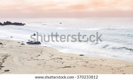Panorama of ocean and a beach with a couple walking dog in California - stock photo