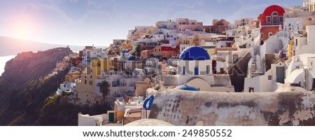 Panorama of Oia village on Santorini island, Greece - stock photo