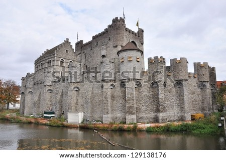Panorama of old fortress (Gravesteen) in the ancient city of Ghent, Belgium - stock photo