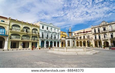 Panorama of Old Havana plaza Vieja with colorful tropical buildings, Havana ,Cuba - stock photo