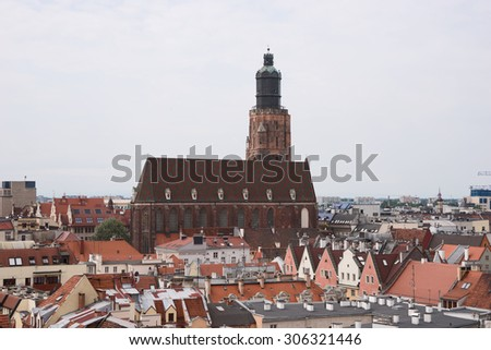 Panorama of old town cityscape, Wroclaw, Poland - stock photo