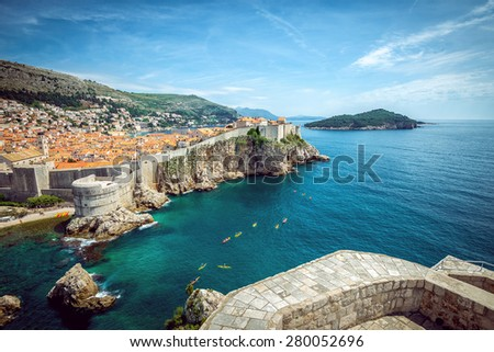 Panorama of old town of Dubrovnik in Croatia - stock photo
