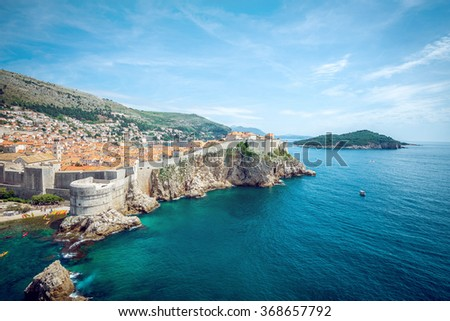 Panorama of old town of Dubrovnik in Croatia