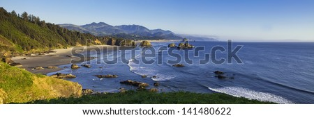 Panorama of Oregon's Cannon Beach - stock photo