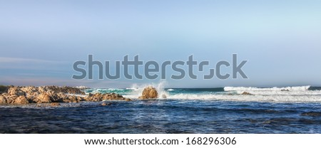 Panorama of Pacific Ocean Waves Hitting Rocks in Pacific Grove, Marine Gardens Park