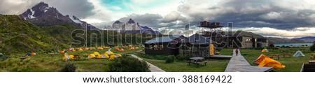 Panorama of Paine Grande Camping - stock photo