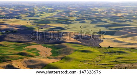 panorama of Palouse, Washington State - stock photo