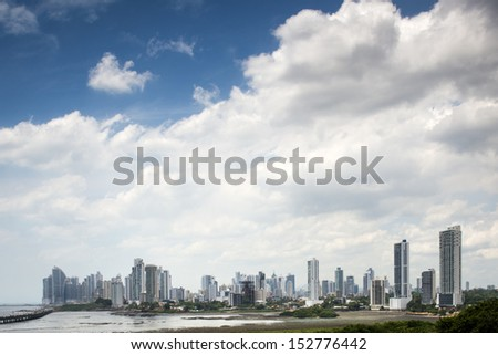 Panorama of Panama city during cloudy day - stock photo