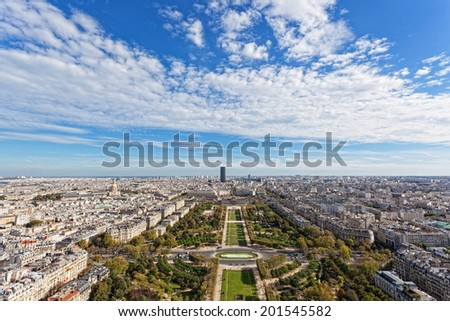 Panorama of Paris from the Eiffel Tower - stock photo