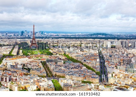 Panorama of Paris from the Montparnasse Tower. France. - stock photo