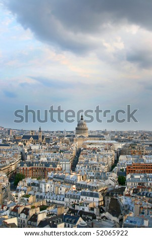 Panorama of Paris in France. Le Pantheon in the center of Latin Quarter. View of sunset from Notre Dame de Paris. - stock photo